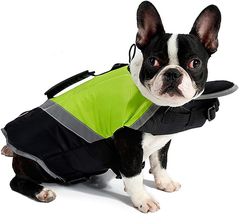 PETCUTE Life Jackets for Dog Flotation Vest Dog Lifesaver High Visibility Float Dog Life Jacket _GreenXL)