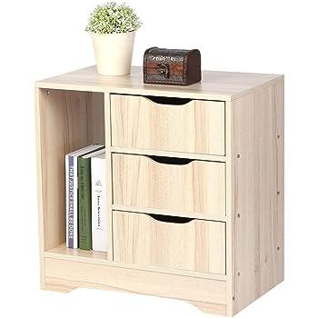 Greensen tavolino con ripiano e mobile comodino bianco in legno comodino per la notte con armadio