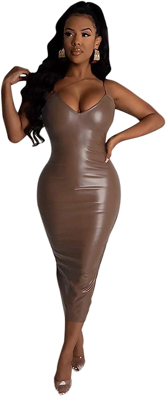 Women PU Leather Bodycon Dress Asymmetrical Spaghetti Strap Dress Sleeveless Split Club Party Dress