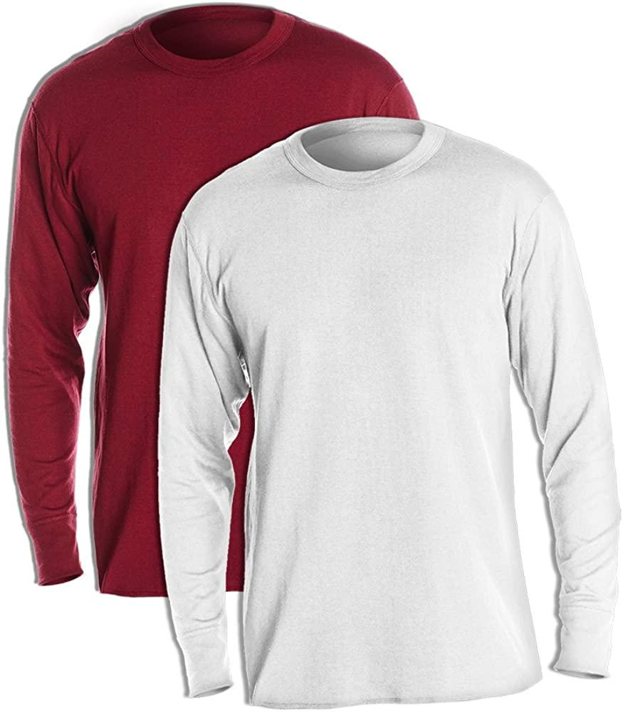 Duofold KMW1 60% Cotton 40% Polyester Men's Mid Weight Wicking Crew Neck Top 1 Bordeaux Red + 1 Winter White