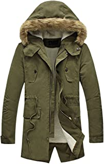 NITAGUT Men's Hooded Faux Fur Lined Warm Coats Outwear Winter Jackets