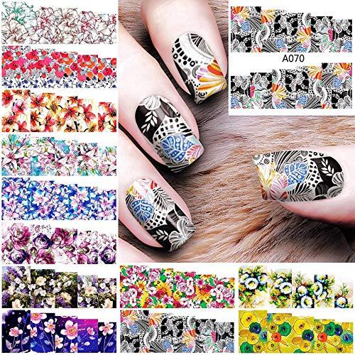 12 feuilles lot fleur ongles eau accessoires stickers ongles autocollant pour nail art decorations stickers new arrive