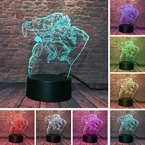 HNXDP Dragon Ball Z Nachtlicht Son Goku VS Jiren 3D Illusion Tischlampe 7 Farbwechsel USBTouch Action Figure Geburtstagsgeschenke