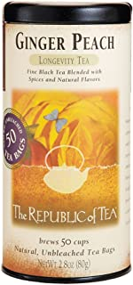 The Republic of Tea Ginger Peach Black Tea, Caffeinated, 50 Count