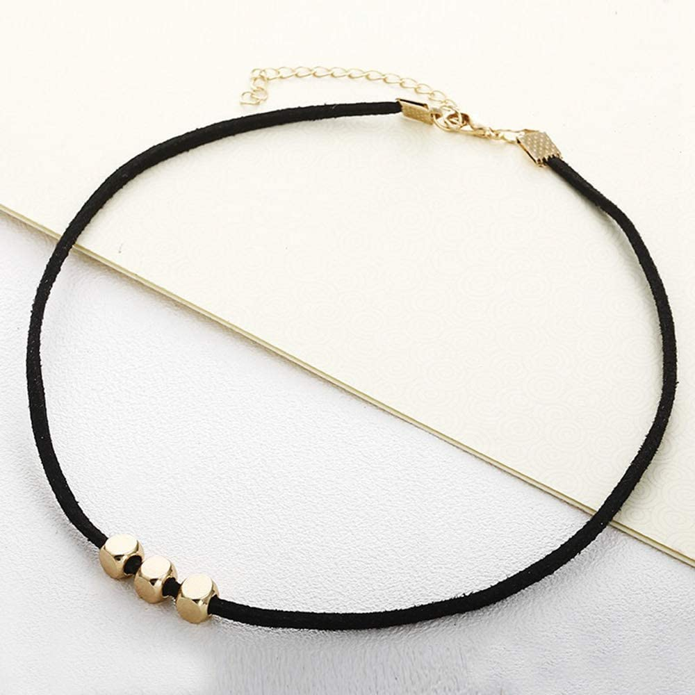 Black Choker Necklace Simple Tiny Dainty Leather Golden Square Beads bar Choker for Womens Girl