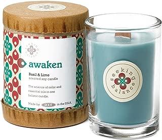 Root Candles Seeking Balance Small Spa Candle, 6.5-Ounce, Awaken: Basil & Lime