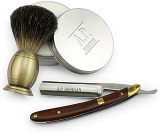 """A.P. Donovan - Professionnel 7/8"""" rasoir traditionnel de barbe - Acajou - 110g Rasage végétale - Rasage Blaireau Pur"""