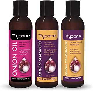 Trycone Onion Hair Growth Oil, Onion Shampoo and Onion Conditioner, Combo Pack of 3 – 600 Ml