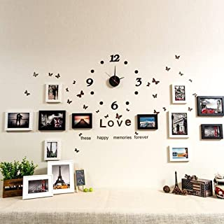 TZZ Picture Frame Creative Background Wall Wall Clock Watch Wall Stickers Hanging Picture Collage Combination Background Wall Decoration (Color : D)