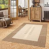 Pergamon In- und Outdoor Teppich Flachgewebe Carpetto Bordüre Trend Karamell in 4 Größen