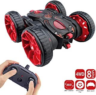 Remote Control Car, RC Stunt Car Toy 4WD 2.4Ghz 8 Mph Racing Stunt Car Double Sided 360° Rotation & Flips, RC Car Toy for Boys & Girls Birthday Christmas - Red Color