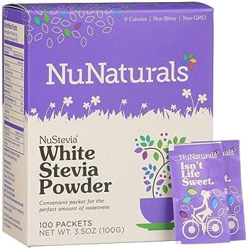 NuNaturals White Stevia Powder, All Purpose Natural Plant Based Sweetener, Sugar-Free, 100 Packets