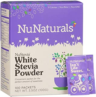 NuNaturals White Stevia Powder, All Purpose Natural Plant Based Sweetener, Sugar-Free, 100 Packets