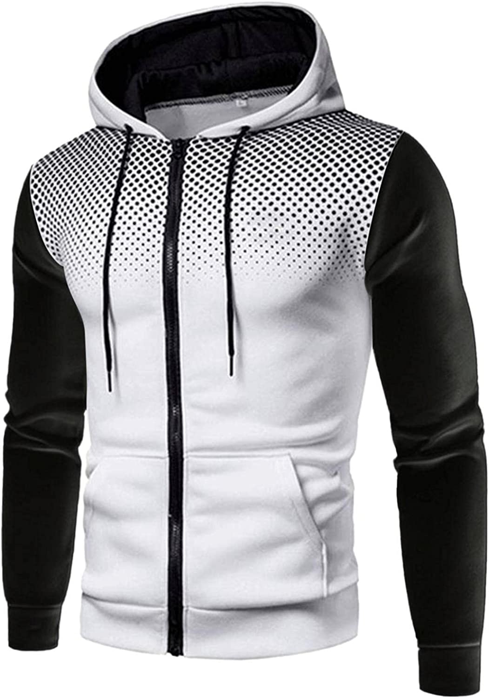 Men's Sweatshirts Polka Dot Fashion Mens Athletic Hoodies Full Zip Sports Sweatshirt Drawstring Long Sleeve Pullover