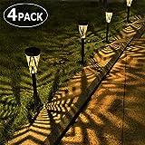 LeiDrail Solar Pathway Lights Outdoor Garden Metal Solar Powered Walkway Warm White LED