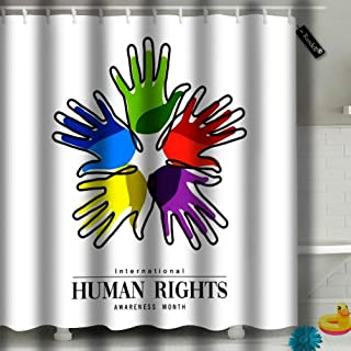 txregxy Shower Curtain Bath Curtain International Human Rights Awareness Month for Global Equality and Peace with Colorful Decorative Modern Bathroom Accessories 1665 72