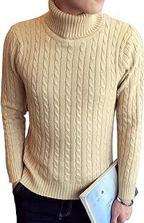 [ベンケ] セーター メンズ 春服 タートルネック 無地 カジュアル 長袖 ニット ケーブル編み M~2XL