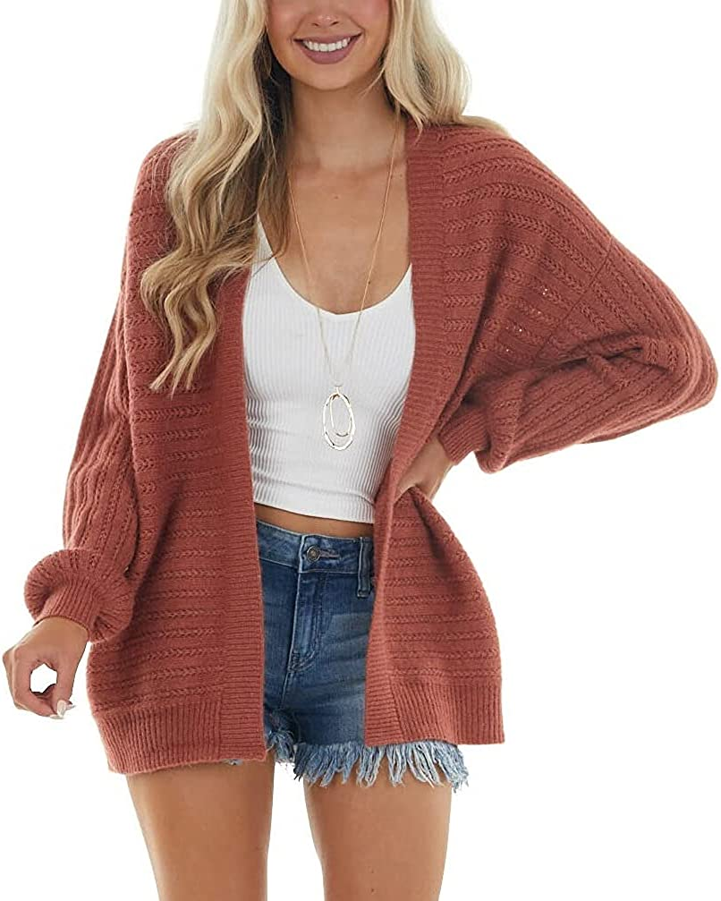 Niceyi Women's Cardigan Sweater Long Sleeve Open Front Oversized Knit Cotton Loose Outerwear