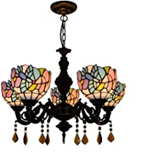 Chandelier European and American Creative Tiffany Stained Glass Lighting Living Room Dining Room Bedroom Bar Club Bird Cry...