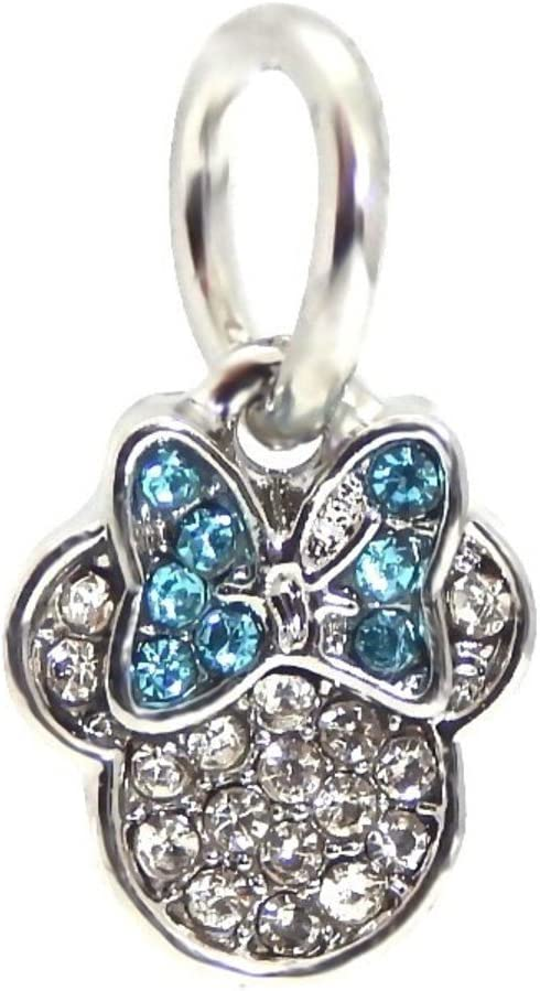 J&M Dangle Crystal Mouse with Blue Bow Charm Bead for Bracelets