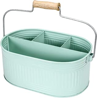 Farmhouse Utensil Caddy Carry-All Serveware - Galvanized Metal Organizer for Kitchen Counter - Comfortable Wooden Handle Indoor/Outdoor Storage For Flatware, Condiments, Party Cutlery, Arts - TEAL