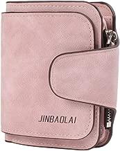 Paquete de tarjeta de cuero de nobuk de monedero con cierre de cremallera con cierre de cremallera de cierre triple para estudiantes Bolsa pequeña portátil (rosa claro)