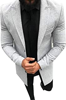 WQ&EnergyMen Men's Long Sleeve Gentleman Solid Colored Notch Lapel Trench Coat