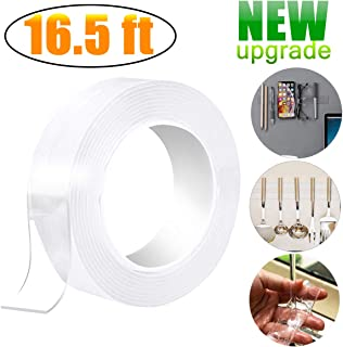 【2019 New】16.5Ft Washable Reusable Adhesive Nano Tape, Free to Remove Transparent Traceless Tape,Silicone Double-Sided Tape Stick for Paste Posters and Photos, Fix Carpet mats, Paste Items etc(16.5Ft)