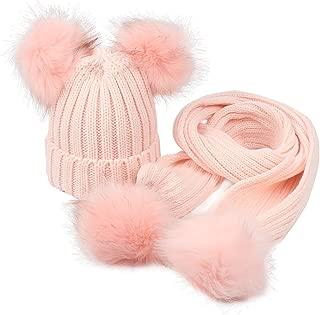 GESDY Baby Girls Knitted Hat Scarf Set Boys Kids Warm Detachable Double Faux Fur Pom Crochet Skull Cap Beanie Hats