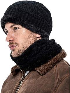 Mo&Ka 2 Pieces Winter Beanie Hat Scarf Set Warm Knit Hat Thick Knit Cap for Men Women