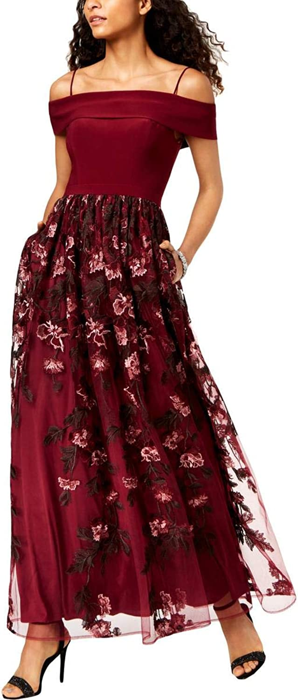 Nightway Womens Floral Print OffTheShoulder Evening Dress
