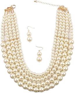 Shineland Elegant 5 Layer Strand Faux Pearl Cluster Collar Bib Choker Necklace and Earrings Suit