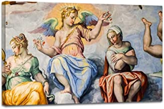 YOOUKEI Angel in Frescoes in The Dome of brunelleschi Jesus Paintings and Art Canvas Print Vintage Painting Poster Home Decor Wall Art Prints Living Room Decoration 24