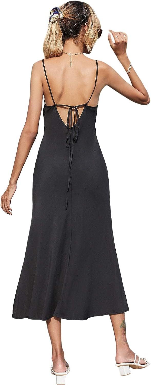 SweatyRocks Women's Summer Spaghetti Strap Cowl Neck Backless Cami Midi Dress