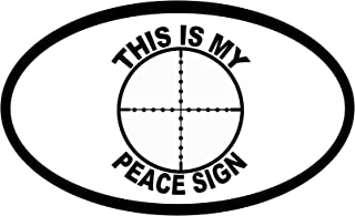 StickerJOE This Is My Peace Sign Bumper Sticker Gun Target Cross Hairs Oval Car Decal 5