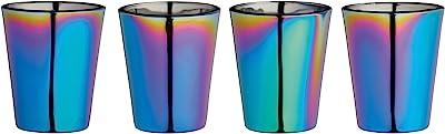 BarCraft Metallic Rainbow Iridescent Shot Glasses, 50 ml (2 fl oz), Set of 4