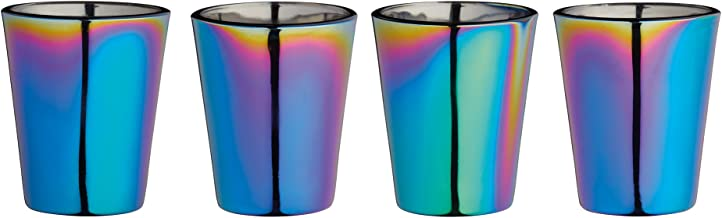 BarCraft Metallic Rainbow Iridescent Shot Glasses, 50 ml (2 fl oz), Set of 4