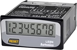 AUTONICS LE8N-BF Hour Meter, 8 digits LCD, 1/32 DIN, Built-in Battery power, Selectable front reset key, Voltage Inhibit Input