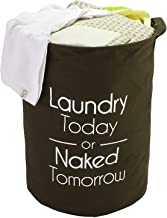 BUCKETLIST® Folding Laundry Basket with Lid (Drawstring Closure) Laundry Today Or Naked Tomorrow Laundry Bag Europian Pattern Cotton Foldable Laundry Basket (Brown)