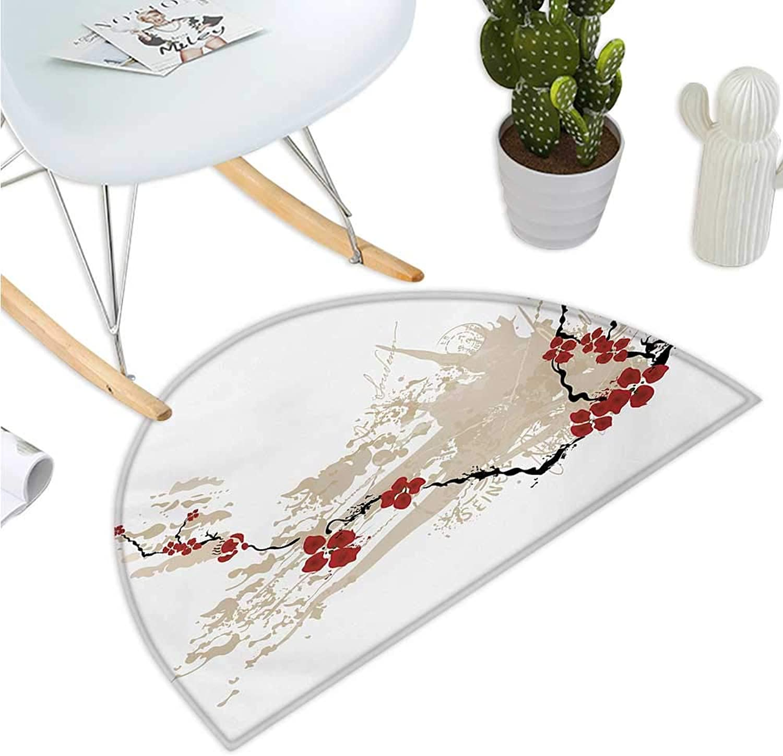 Flower Semicircular Cushion Illustration of Sakura Flowers on Grunge Background with Soft Pastel colors Halfmoon doormats H 47.2  xD 70.8  Beige White Red