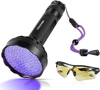 YOUTHINK UV-lampa, 128 LED UV-ficklampa med UV-skyddsglasögon, 395 nm uppgraderad 128 LED-ficklampa svart ljus ultraviolet...