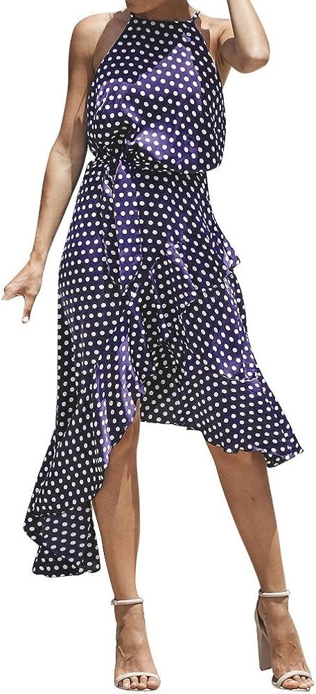 HGWXX7 Women Sexy Boho Dot Irregular Hem Cocktail Beach Evening Party Long Dress