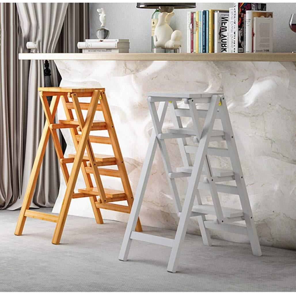LHF Inicio Taburetes, asientos de silla Escalera plegable Taburete Escalera de madera Escalera de madera de pino Escalera de 4 escalones Estante de flores portátil Banco de zapatos Estante de almacen: Amazon.es:
