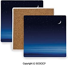 Ceramic Coasters with Cork Base, Prevent Furniture from Dirty and Scratched, Suitable for Kinds of Mugs and Cups,Night,Moon and Stars over Santa Barbara Channel Foggy,3.9