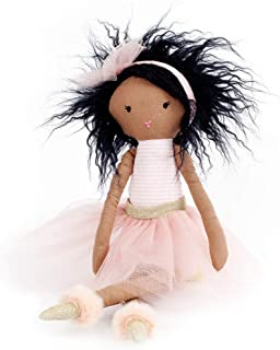 Mon AMI Pink Ballerina Designer Plush Doll, Exquisite Craftmanship, Premium Quality, Cuddling, Collecting & Playing Toy, Baby or Toddler Gift, African American, 15