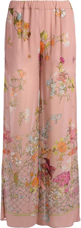 Semicouture Woman's Pantalone Palazzo Lake pink Con Stampa Fiori