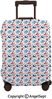 Travel Luggage Cover Spandex Suitcase,Animal Pattern Octopus Whale Starfish Shellfish Abstract Marine Blue Red White,26x37.8inches,Protector Carry On Covers with Zipper