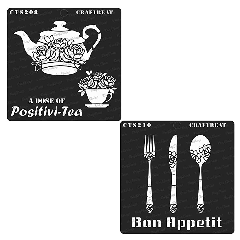 CrafTreat Stencil - A Dose of Positivi-Tea & Bon Appetit (2 pcs) | Reusable Painting Template for Home Decor, Crafting, DIY Albums, Scrapbook and Printing on Paper, Wall, Fabric, Wood 6