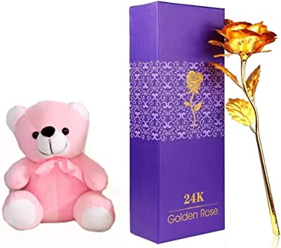 Just Flowers® Golden Rose with Cute Pink Teddy Bear (1Golden Roses, 6inch Teddy)