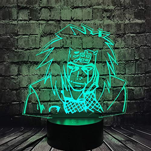 Naruto 3D lámpara de mesa multicolor LED luz nocturna acrílico decoración USB regalo para habitación de niños